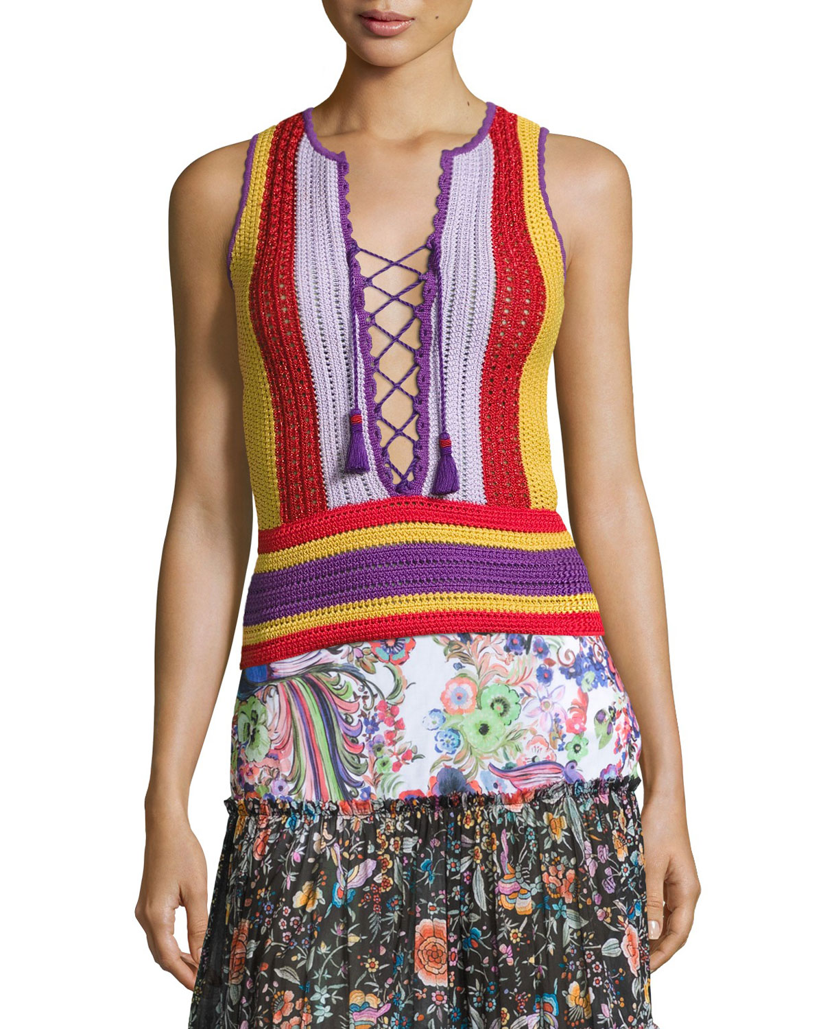 Lace-Up Striped Crochet Tank, Multi