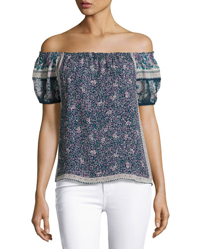 Tinashe Off-the-Shoulder Floral Silk Top, Blue