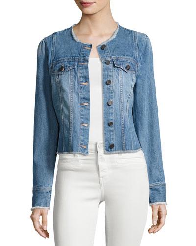 Cranham Frayed-Edge Denim Jacket, Blue