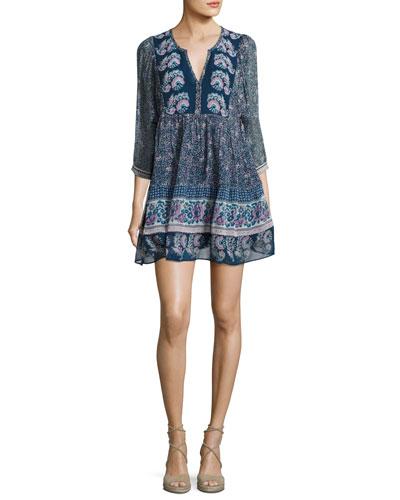 Emlen Floral-Print Silk Peasant Dress, Blue
