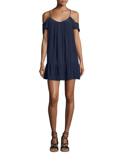 Stellara Cold-Shoulder Flounce Silk Mini Dress, Blue