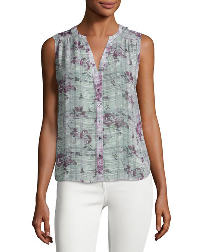 Finnegan Sleeveless Floral Plaid Silk Top, Gray