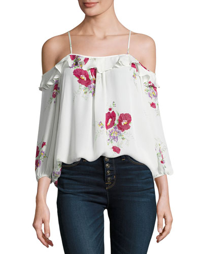 Birtha Floral-Print Cold-Shoulder Top, White