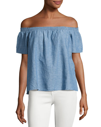 Amesti B Chambray Off-the-Shoulder Top, Blue