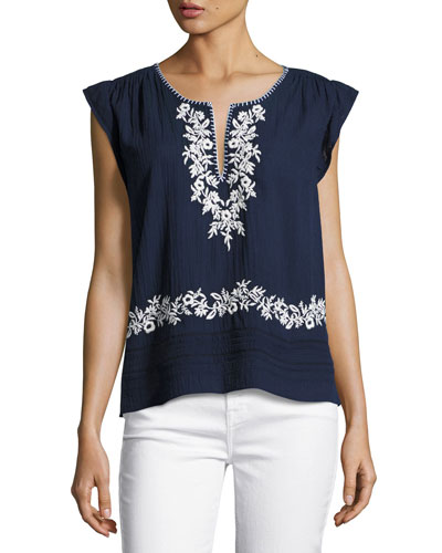 Mandel Embroidered Cap-Sleeve Top, Blue