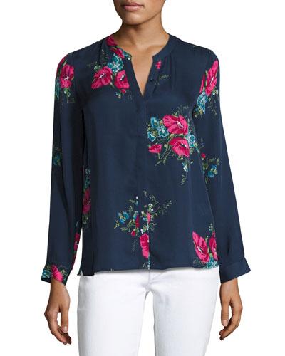 Devitri Floral-Print Silk Shirt, Blue