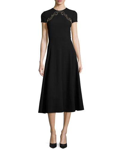 Delphine Studded-Yoke Midi Dress, Black