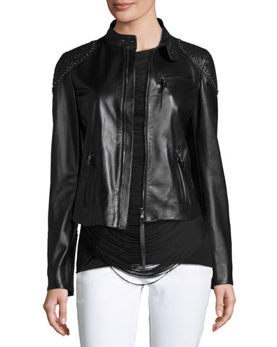 Studded Woven-Patch Leather Moto Jacket, Black