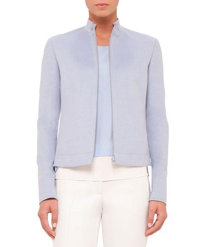 Zip-Front Long-Sleeve Jacket, Sky Blue