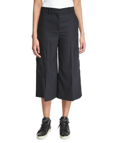 Ellis Wide-Leg Cropped Pants, Black
