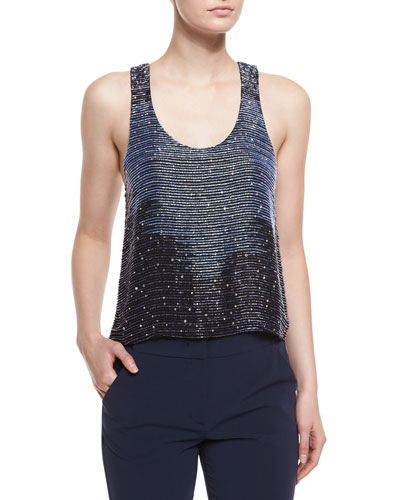 Embellished Racerback Blouse, Navy