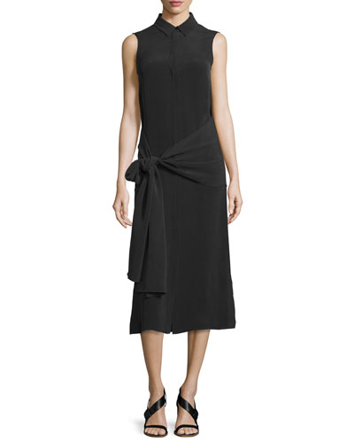 Alto Sleeveless Silk Tie-Waist Shirtdress, Black