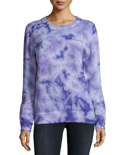 Long-Sleeve Tie-Dye Sweater, Wisteria