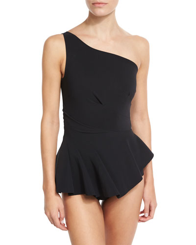 LA PETITE ROBE DI CHIARA BONI Astrea One-Shoulder Swimdress, Black