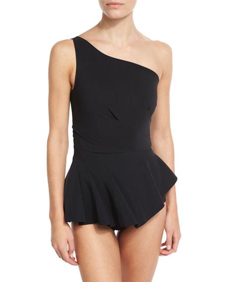 Chiara Boni La Petite Robe Astrea One-Shoulder Swimdress, Black