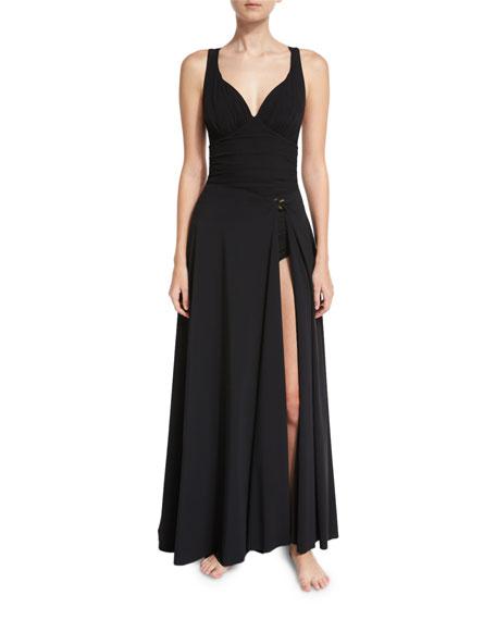 Chiara Boni La Petite Robe Rodeia Jersey Wrap Coverup Maxi Skirt, Black