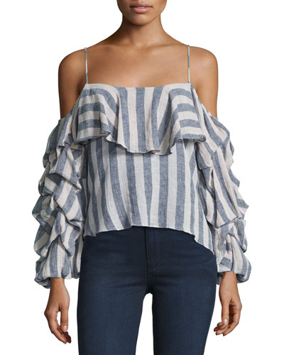 Flora Striped Cold-Shoulder Ruffle Top, Multi