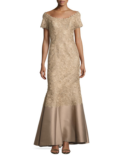 Off-the-Shoulder Lace Gown, Gold
