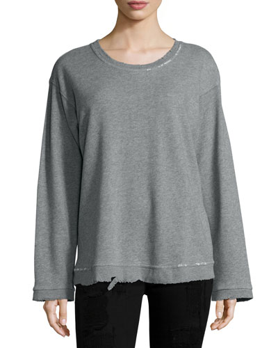 Beal Distressed Sweatshirt, Ice/Light Gray