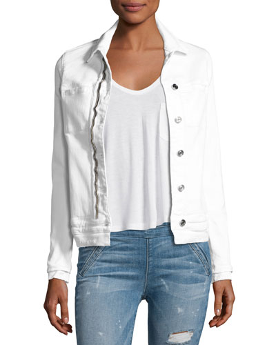 Rene Distressed Denim Jacket, Pure/White