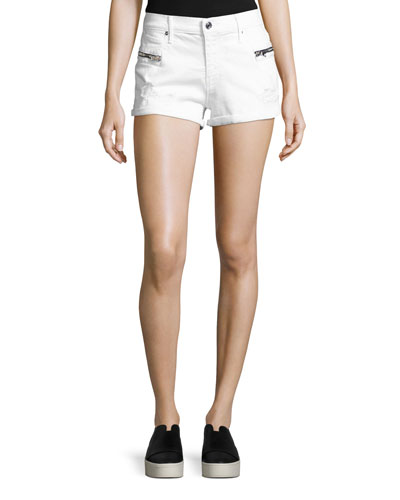 Vincent Zip-Pocket Denim Shorts, Pure/White