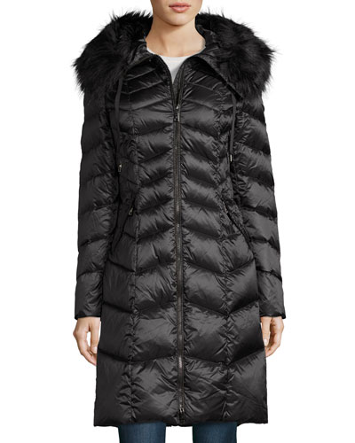 Emma Hooded Down Chevron Coat, Ebony