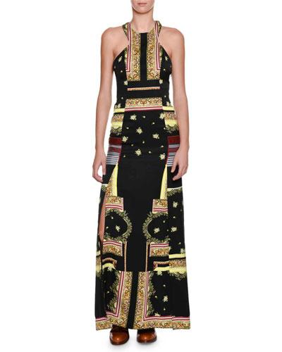 Printed Cut-In Halter Slit Gown, Black