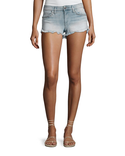 Joey Denim Cutoff Shorts with Whipstitch Trim, Cloud Nine