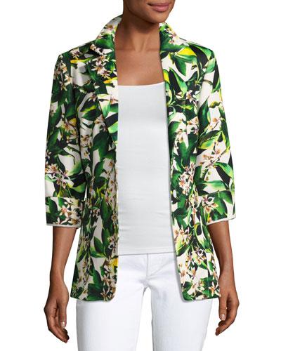 Palm Springs Two-Button Blazer Jacket, Multi, Plus Size