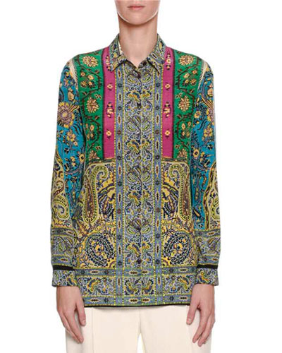 Paisley-Print Silk Blouse, Blue/Turquoise