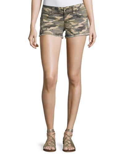 Kiera Low-Rise Cutoff Shorts, Vintage Camo