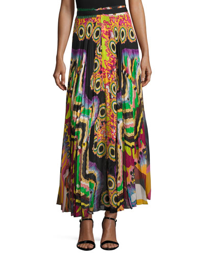 Printed Pleated Maxi Skirt, Green/Multi