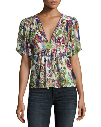 Bell Heather Printed V-Neck Blouse, White/Multi