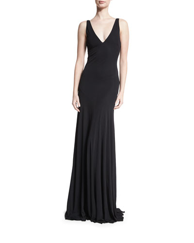 Sleeveless Strappy-Back Mermaid Gown, Black