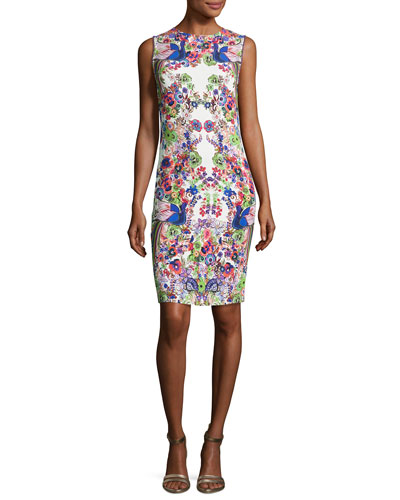 Sleeveless Punto Stoffa Sheath Dress, White/Multi