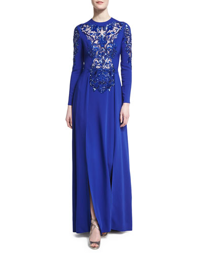 Illusion Beaded Long-Sleeve Double-Slit Gown, Royal Blue