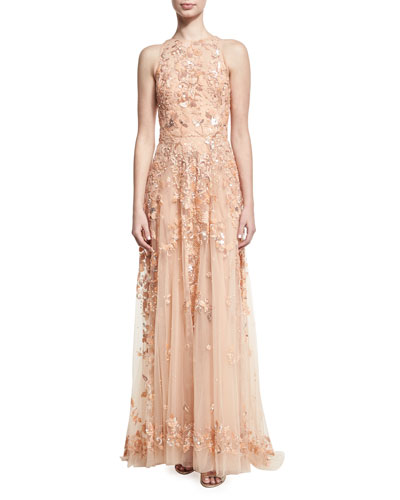 Beaded Tulle High-Neck Sleeveless Gown, Pink