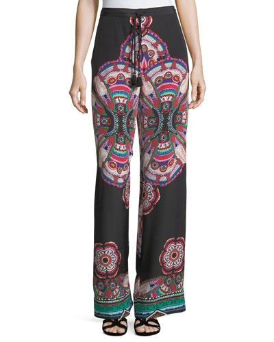 Drawstring Printed Silk Pants