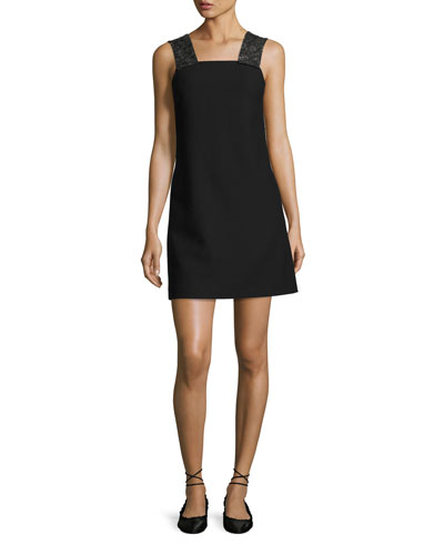 Sleeveless Embellished Ponte Shift Dress, Black