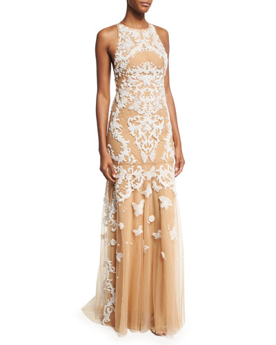 Sleeveless Beaded Tulle Gown, White/Neutral