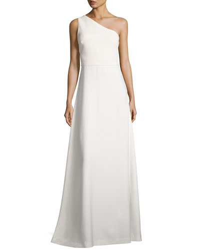 One-Shoulder Crepe A-Line Gown, Ivory