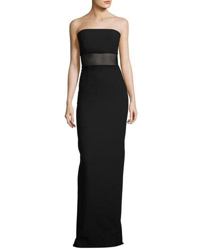Strapless Ponte Column Gown, Black