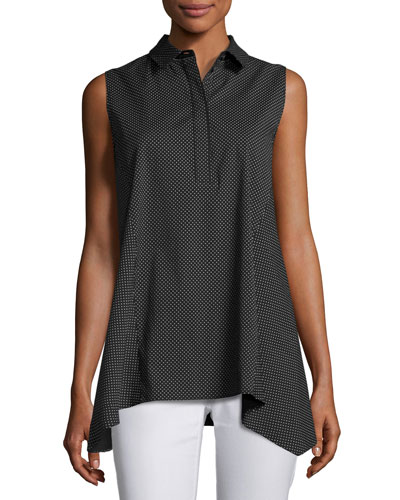 Hollyn Sleeveless Sporty Spots Stretch-Cotton Blouse