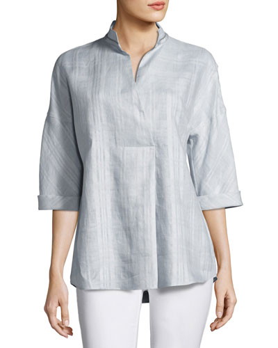 Dakota 3/4-Sleeve Seneca Plaid Linen Top, Multi