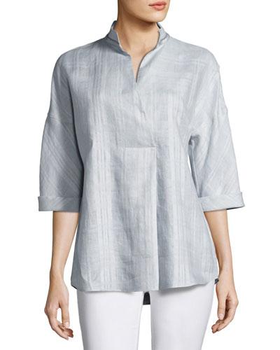 Dakota 3/4-Sleeve Seneca Plaid Linen Top, Multi