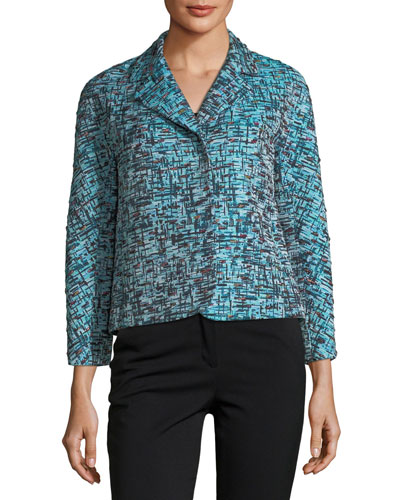 3/4 Sleeve Tweed Jacquard Snap-Front Cropped Jacket