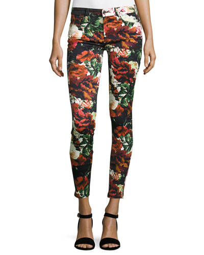 Floral-Print Ankle Skinny Jeans, Black