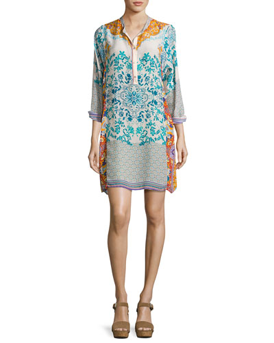 Ellyonora Half-Placket Floral Georgette Dress, Multi, Petite