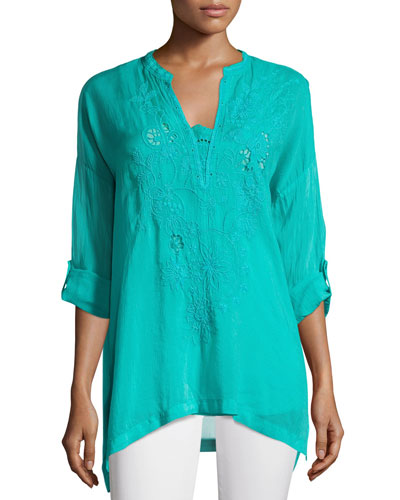 Lusana Georgette Embroidered Blouse, Plus Size