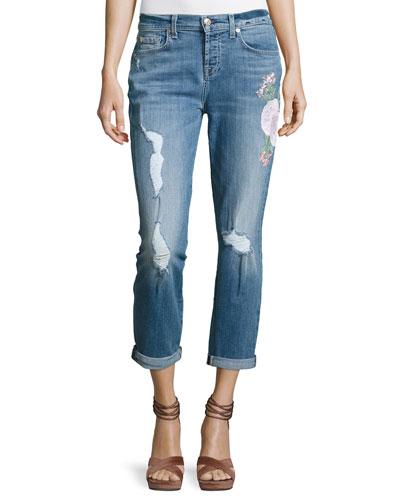 Josefina Embroidered Botanical Relaxed Jeans, Indigo